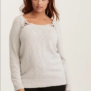 Torrid lace up yoke crew neck pullover sweater